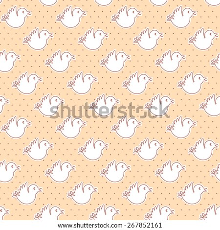 Seamless pattern with flying birds on polka dot background - stock vector