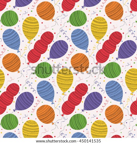 Seamless pattern with flying colorful ballons and confetti. Great for Birthday, wedding, anniversary, jubilee, rewarding and winning design. Seamless backgrounds.