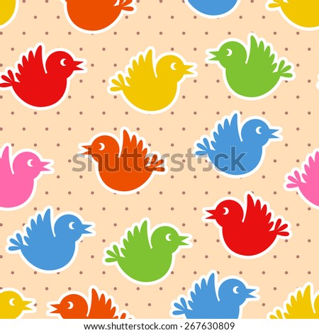 Seamless pattern with flying colorful birds - stock vector