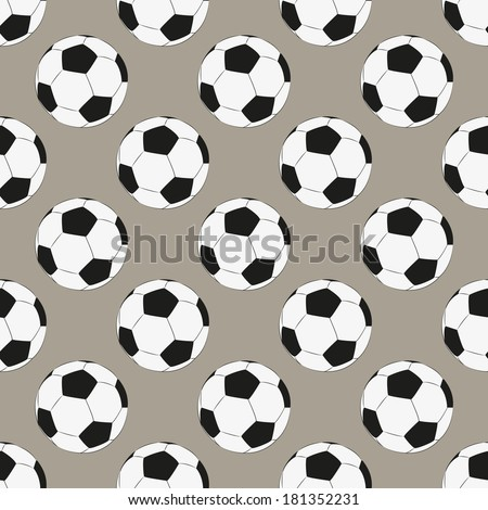 Seamless pattern with football balls. Football infinite background. Sporty polka dot - stock vector