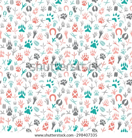 Seamless pattern with footprint of birds and animals.Hand-drawn element useful for invitations, scrapbooking, design. - stock vector