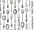 Seamless pattern with forks and spoons. Hand drawn vintage vector illustration. - stock vector