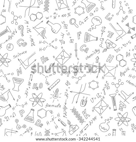 Seamless pattern with formulas,graphs, and equipment as the subject of chemistry ,dark outline on a white background - stock vector