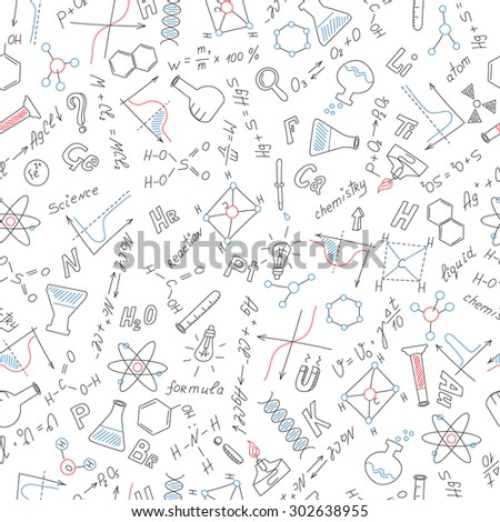 Seamless pattern with formulas,graphs, and equipment as the subject of chemistry with colored markers on white background