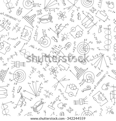 Seamless pattern with formulas,graphs, and equipment as the subject of physics,dark marker on white background - stock vector