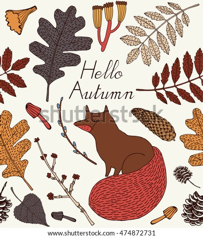 Seamless pattern with fox. Cute autumn card.