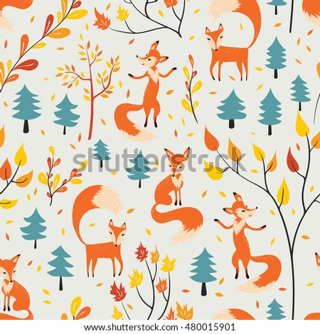 Seamless pattern with fox in autumn forest