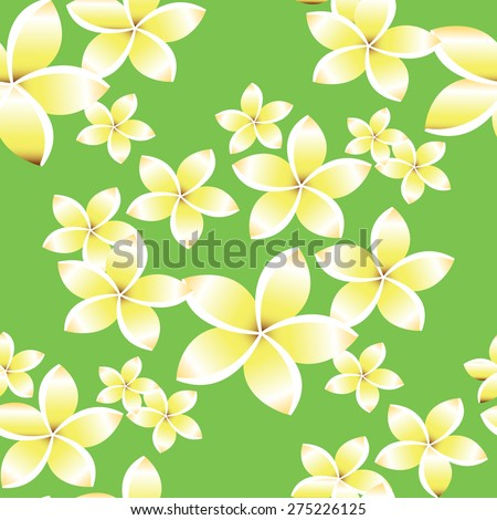 Seamless pattern with frangipani flowers.Seamless pattern can be used for wallpaper, pattern fills, web page backgrounds, surface textures. - stock vector