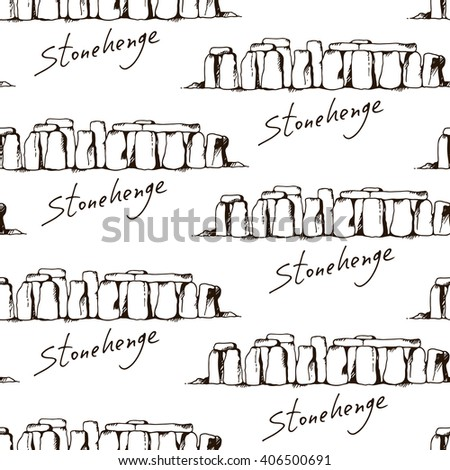 Seamless pattern with freehand sketch of Stonehenge in Wiltshire, England. Vector background on white color - stock vector
