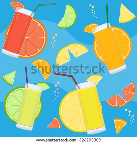 Seamless pattern with fresh citrus juices and citrus slices - stock vector