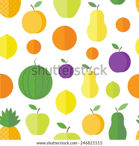 Seamless pattern with fresh fruits and berries on a white background in flat style. Vector background
