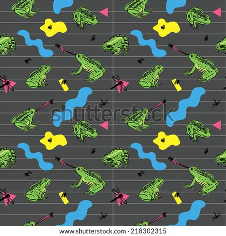 Seamless pattern with frogs and flies in retro 80s style