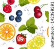 Seamless pattern with fruit and splash of water - stock vector