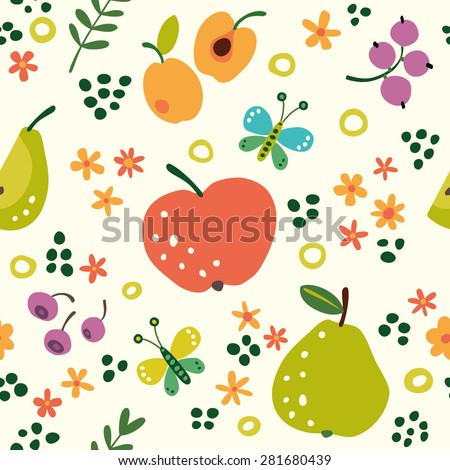Seamless pattern with fruits for your design. Summer background with fruit: apples, pears, apricots, currants, blueberries. - stock vector