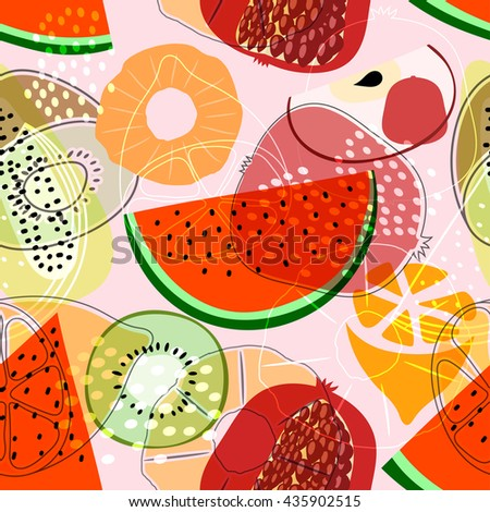 Seamless pattern with fruits: watermelon, orange, kiwi, pomegranate, melon, apple. Colorful vector pattern, flat style. Stock vector - stock vector