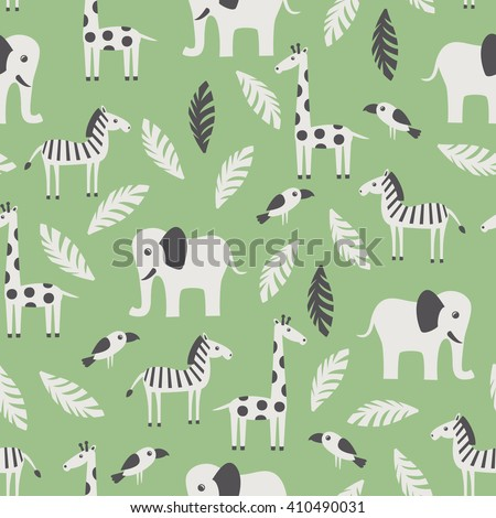Seamless pattern with funny African animals. Vector illustration. - stock vector