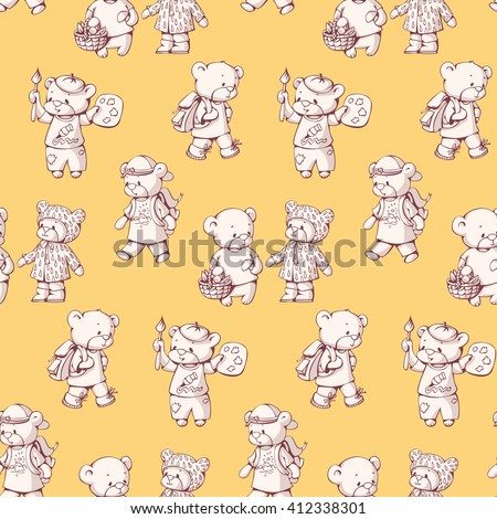 Seamless pattern with funny cartoon bears. Hand-drawn illustration. Vector.