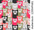 Seamless pattern with funny cats - stock vector