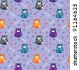 Seamless pattern with funny cats, paw prints, hearts and fish - stock vector