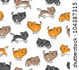 Seamless pattern with funny cats. Vector illustration. - stock vector