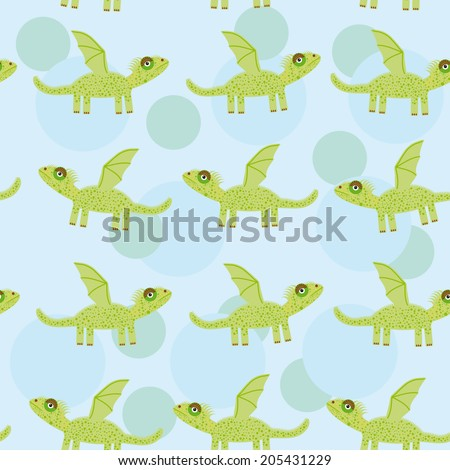 Seamless pattern with funny cute dragon on a blue background. Vector - stock vector