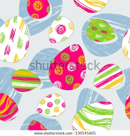 Seamless pattern with funny easter eggs - stock vector