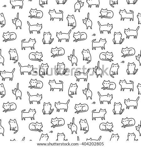 Seamless pattern with funny hand drawn cats. Animals vector illustration with adorable kittens. Tillable background for your fabric, textile design, wrapping paper or wallpaper. - stock vector