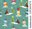 Seamless pattern with funny penguins in sweater on ice-floes and walruses rest upon ice-floes with Christmas tree - stock vector