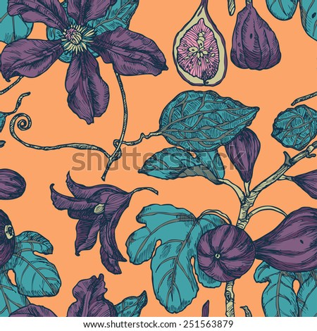 Seamless pattern with garden and dates on peachy background in vector - stock vector