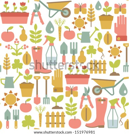 seamless pattern with gardening icons - stock vector