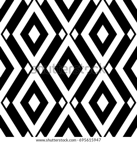 Seamless pattern with geometric prints black and white monochrome background