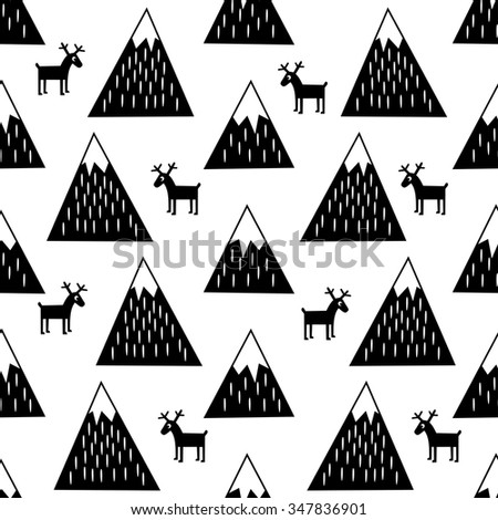 Seamless pattern with geometric snowy mountains and reindeers. Black and white nature illustration. Cute winter mountains background. - stock vector