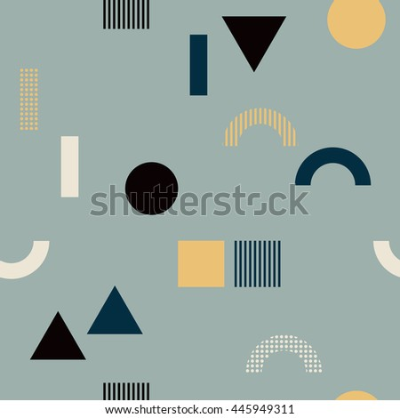 Seamless pattern with geometrical shapes - square, triangle, circle. Multicolored vector texture with colorful simple figures. Nice abstract geometry background in flat style.