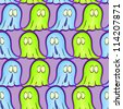 Seamless pattern with ghosts on Halloween - stock vector