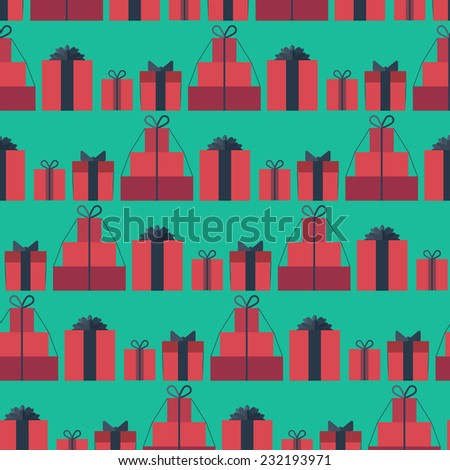 Seamless pattern with gift boxes in the flat style. Different gift boxes with bows - stock vector