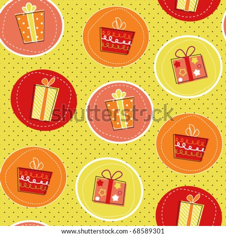Seamless pattern with gift boxes on polka dot background, paper wrapper - stock vector