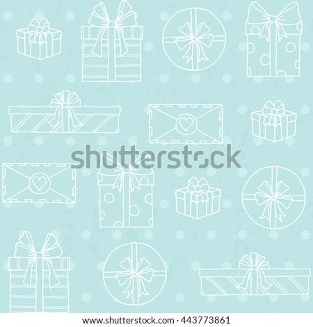 Seamless pattern with gift boxes on polka dots background
