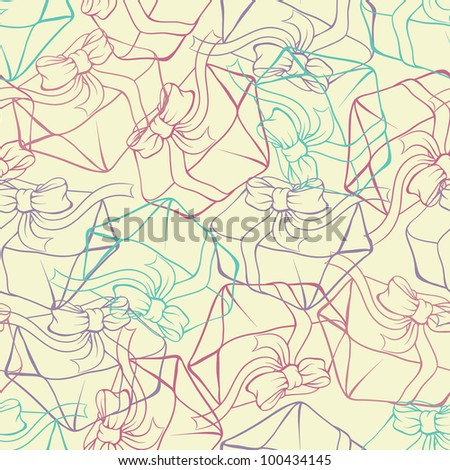 Seamless pattern with gift boxes. Vector texture. - stock vector