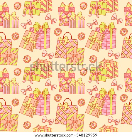 Seamless pattern with gift boxes with bows and ribbons. Doodle style. Wrapping paper.