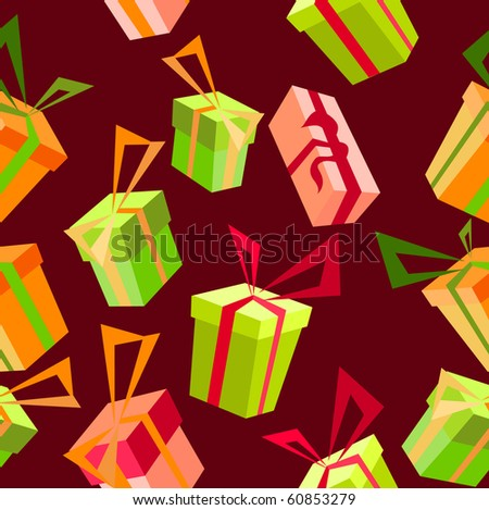 Seamless pattern with gifts - stock vector