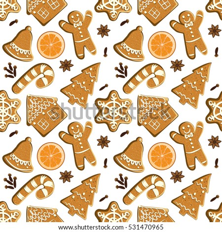 Seamless pattern with gingerbreads, orange slices and spices. Vector Christmas tiled background. Winter wrapping paper texture with illustrated homemade bakery: ginger man, snowflake, candy cane