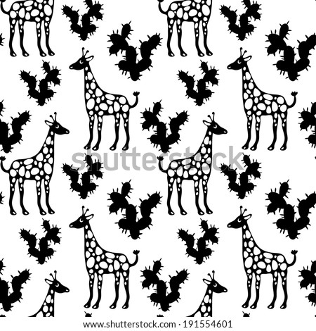 Seamless Pattern with Giraffes and Cactus in Black and White. Endless Print Texture. Hand Drawing. Cartoon Style - vector  - stock vector