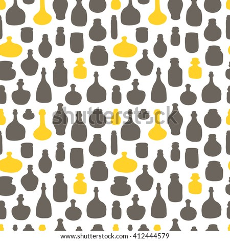 Seamless pattern with glass and plastic bottles. Hand drawn vector illustration. Different containers for your design. - stock vector