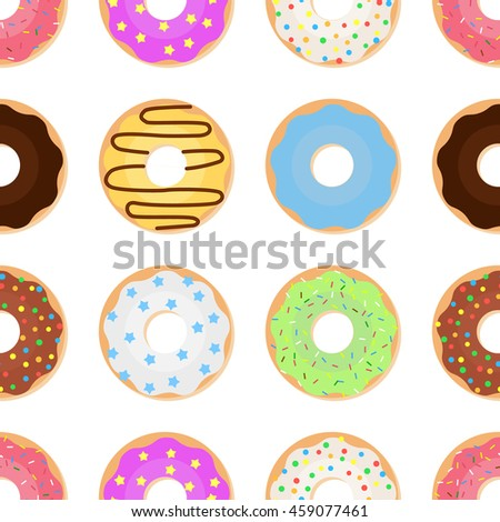 Seamless pattern with glazed colorful donuts. Vector illustration background of sweet donuts on a light background.  - stock vector