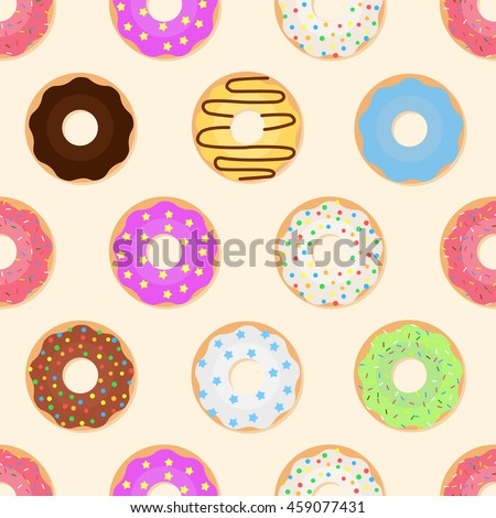 Seamless pattern with glazed colorful donuts. Vector illustration of sweet donuts on a light background.  - stock vector