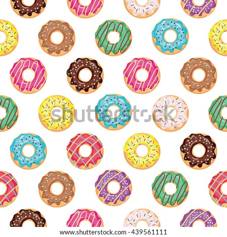 Seamless pattern with glazed donuts. Bright colors. - stock vector
