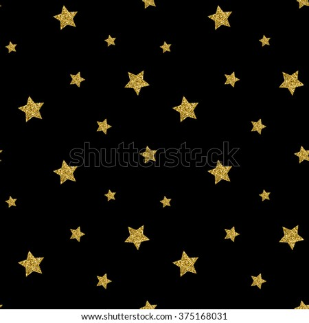 Seamless pattern with gold glitter textured stars. Vector background - stock vector