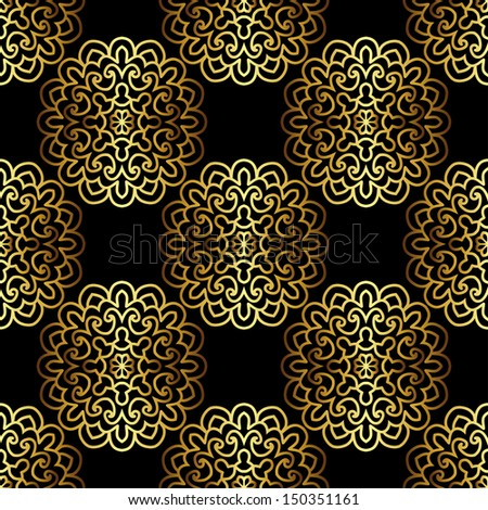 Seamless Pattern With Gold Ornament. 3D Effect - stock vector