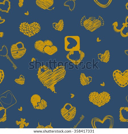 Seamless Pattern with Golden Hearts. St. Valentine's Day or Weddings Design Element. Doodle Style. Vector background.