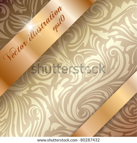 Seamless pattern with golden ribbons over it with copyspace - stock vector